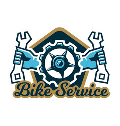 logo bike service a bicycle sprocket and hand vector image vector image
