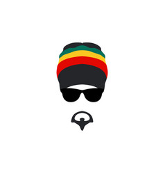 man wearing rastafarian hat icon in flat style vector image vector image