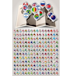 Map world 192 markers with flags vector image