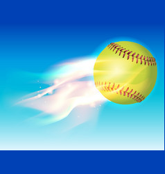 softball on fire in the sky vector image vector image