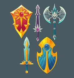 swords shields axe for fantasy game vector image