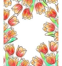 Tulips frame design template vector image
