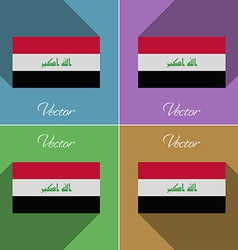 Flags Iraq Set of colors flat design and long vector image