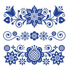 floral folk art greeting card design elements vector image