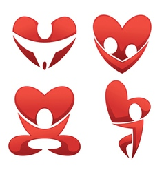 love and hearts symbols vector image