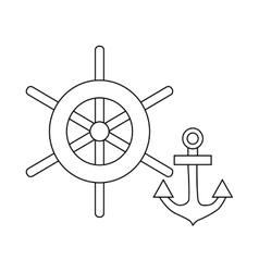 Ship wheel and anchor icon outline style vector image vector image