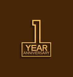 1 year anniversary design line style with square vector