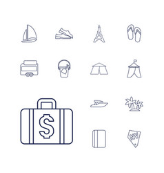 13 vacation icons vector