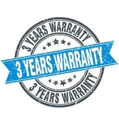 3 years warranty blue round grunge vintage ribbon vector