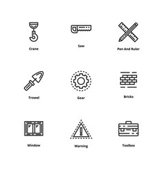 9 construction thin line icon vector image