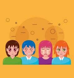 anime girls manga portrait vector image