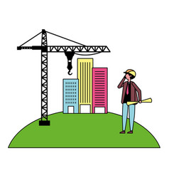 architect man with construction crane and vector image