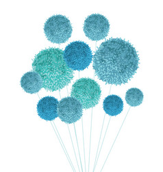 Baby boy blue pom poms bouquet decorative vector