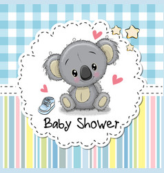 Baby shower greeting card with cartoon koala vector