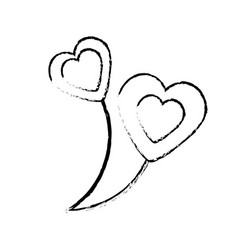 Balloons heart love sketch vector