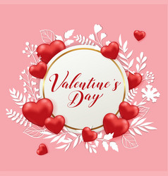 banner with hearts and paper flowers vector image