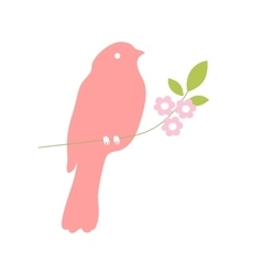 Bird silhouette on a tree branch vector image