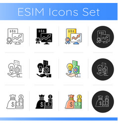 business assets icons set vector image