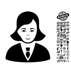 Business lady flat icon with bonus vector