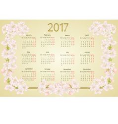 Calendar 2017 with apple tree blossoms vintage vector