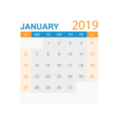 calendar january 2019 year in simple style vector image