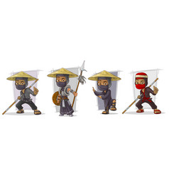 Cartoon masked ninja warriors character set vector