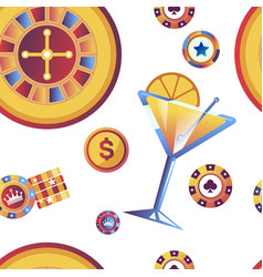 casino gambling games and dollar coins seamless vector image