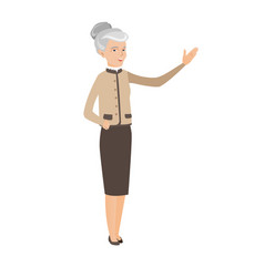Caucasian business woman with outstretched hand vector