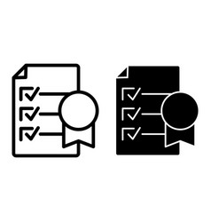 Certificate line and glyph icon document vector