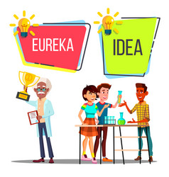 characters have scientific idea and eureka vector image