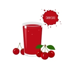 cherry juice with ripe cherry isolated vector image
