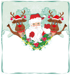 christmas card with santa claus and happy reindeer vector image
