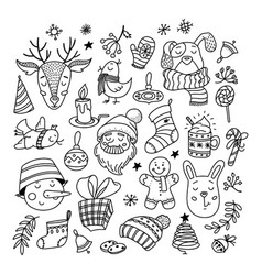 collection of chrismas doodles characters things vector image