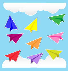 color paper plane stickers with shadows vector image