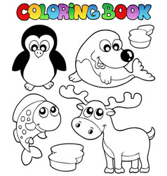 Coloring book winter topic 2 vector