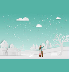 concept of love in winter seasoncouple standing vector image vector image