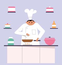 cook chef restaurant gourmet cooking kitchen vector image