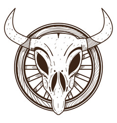 cow skull on a wheel wild west outline drawing vector image