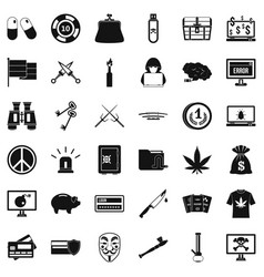 criminal money icons set simple style vector image