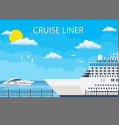 Cruise ship anchored at sea port vector