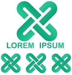 Curved line logo design set vector
