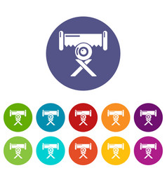 Cutting saw icons set color vector