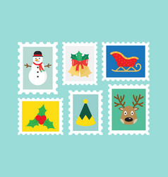 different christmas postage stamps vector image