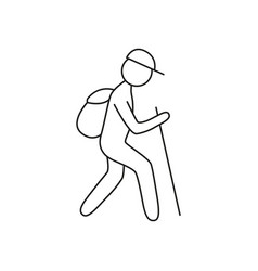 Doodle tourisk with backpack icon vector