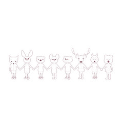 eight children holding hands with animal heads vector image