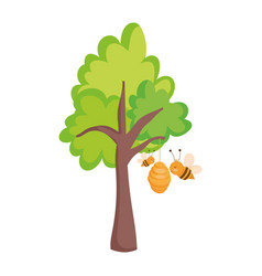farm animals cartoon flying bees in hive tree vector image