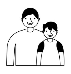 father and son characters on white background vector image