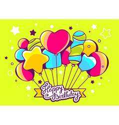 festive bunch of colorful striped balloon vector image