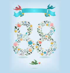 floral number eighty eight with ribbon and birds vector image