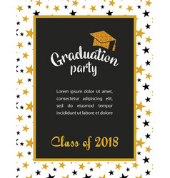 Graduation class 2018 greeting card and vector